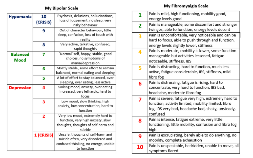 the author's scales she uses to track how her bipolar disorder and her fibromyalgia