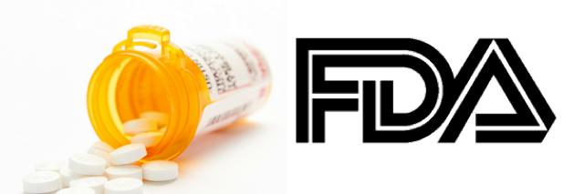 Pill bottle and FDA logo