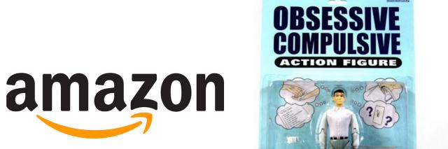Amazon logo and ocd action figure