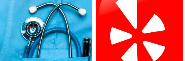 Stethoscope and Yelp logo