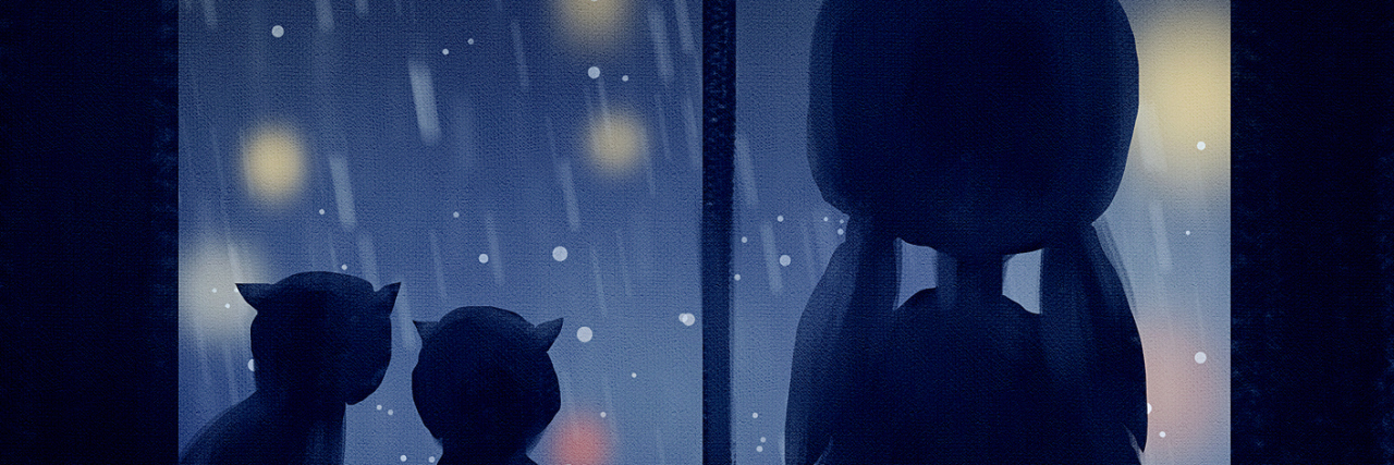 digital painting of two cats and girl at window in rainy day, acrylic on canvas texture, story telling illustration