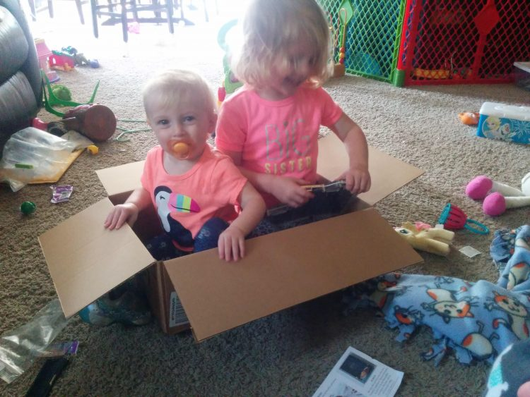 little kids sitting in a box with in messy house