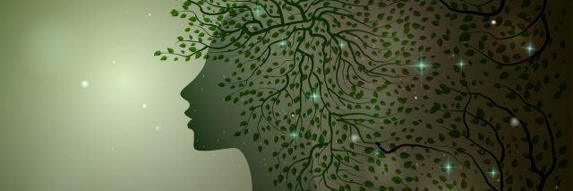 midnight summer dream, forest fairy, woman profile decorated with leaves branches and sparkles, Flora, vector,