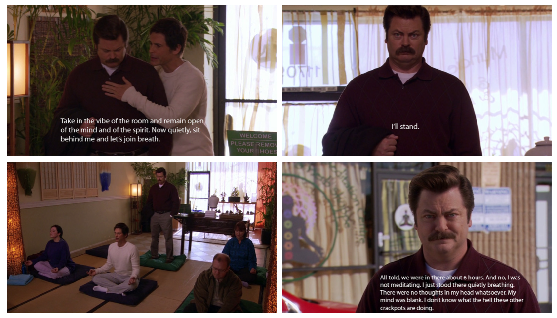 parks and rec gif about meditating