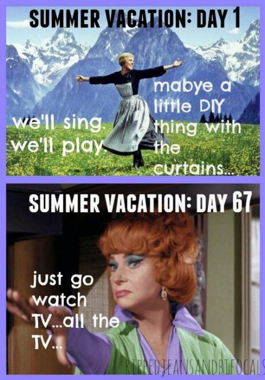 """summer day 1"""" we'll sing, we'll play, maybe do a little DIY thing withe the curtains. Summer day 67, just go watch TV, all the TV"""