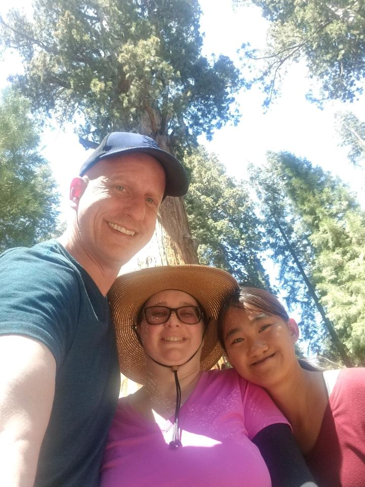 A picture of the writer with her husband and daughter in the national park.