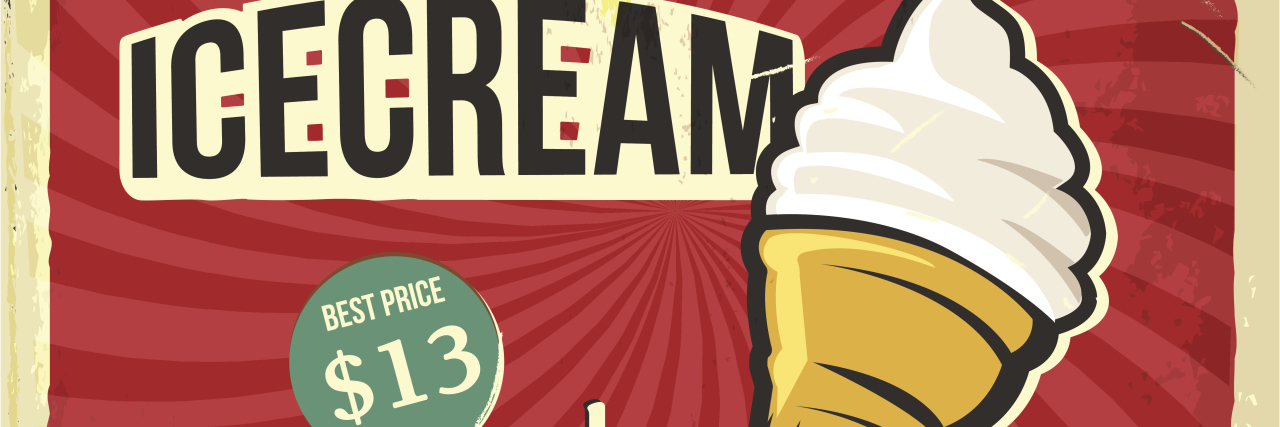 Retro metal sign with ice cream cone priced at $13.