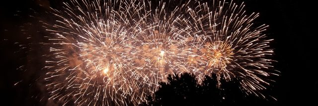 A photo of fireworks lighting up the night sky.