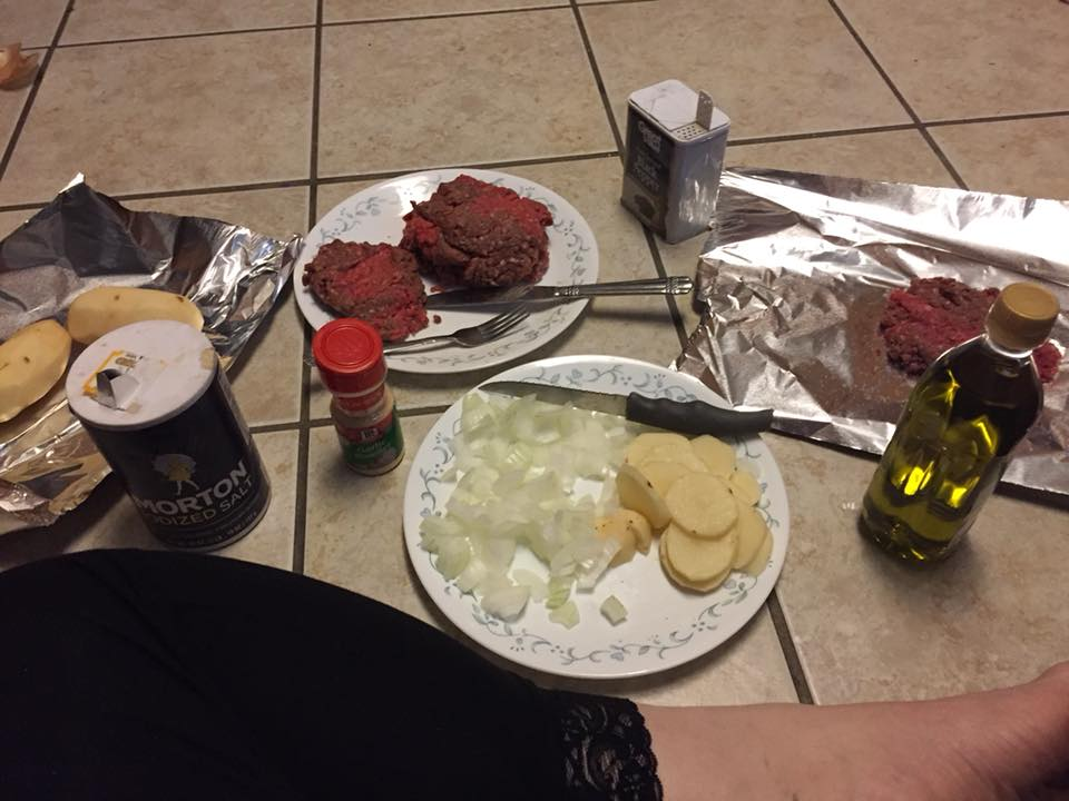 dinner laid out on the floor
