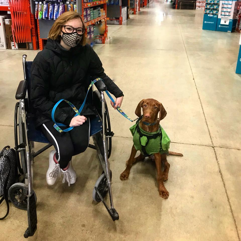 woman sitting in a wheelchair wearing a face mask with her service dog sitting next to her