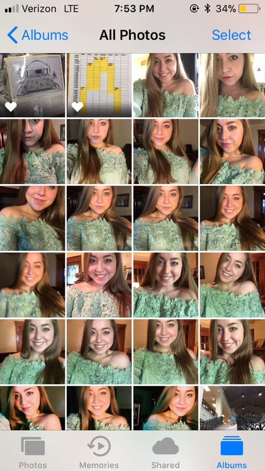 screenshot of collage of selfies on a woman's phone