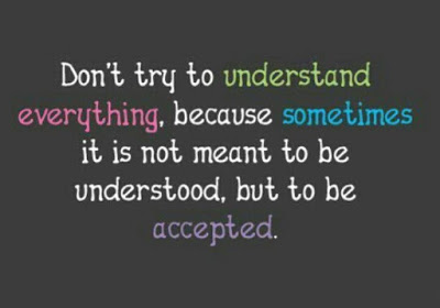 """Don't try to understand everything, because sometimes it isn't meant to be understood, but to be accepted."""