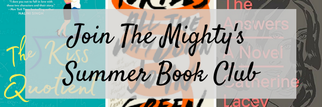 """Text that reads """"join The Mighty's book club"""""""