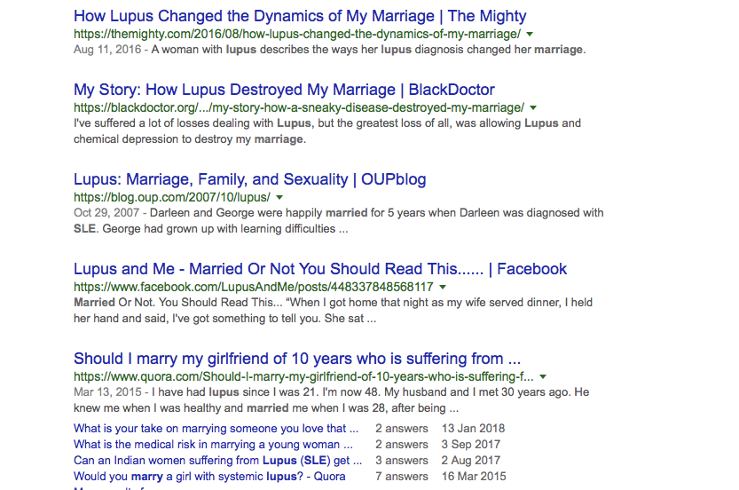 """Google search results of """"marriage and lupus."""""""