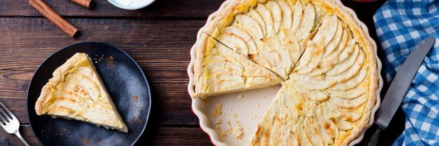 Pie on a wooden background.