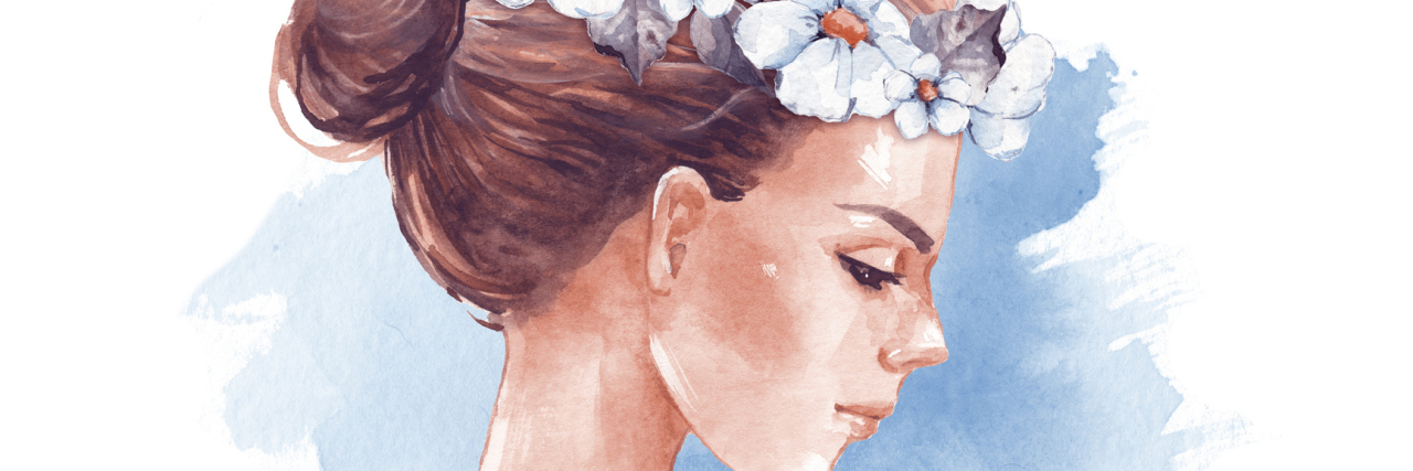 An illustration of a woman wearing a flower accessory on her head.