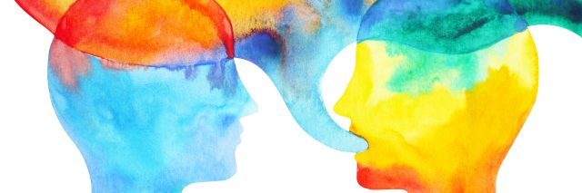 Human speaking and listening, watercolor painting.