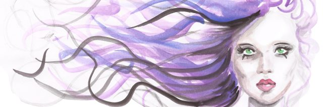 An illustration of a woman with purple hair flowing in the breeze.