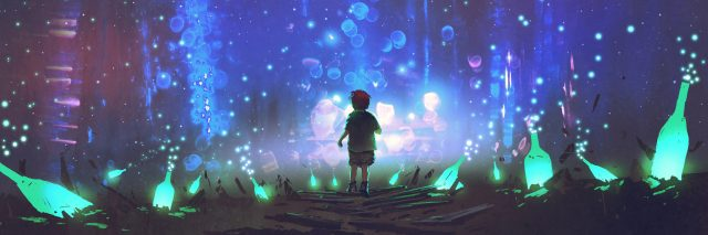 night scenery of boy walking on the floor among many glowing green bottles, digital art style, illustration painting