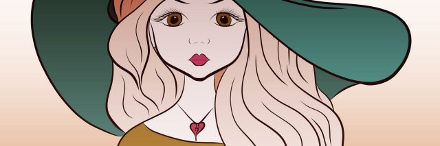 drawing of a woman with long blonde hair wearing a floppy green hat