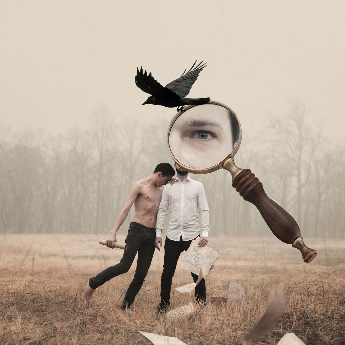 Jonathan Chapé photography digital art image of men in field with magnifying glass over eye