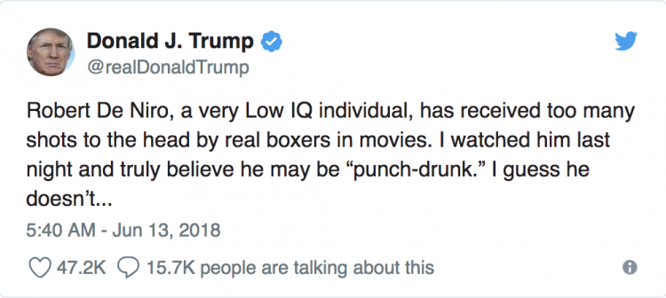 Screenshot of Trump's tweet