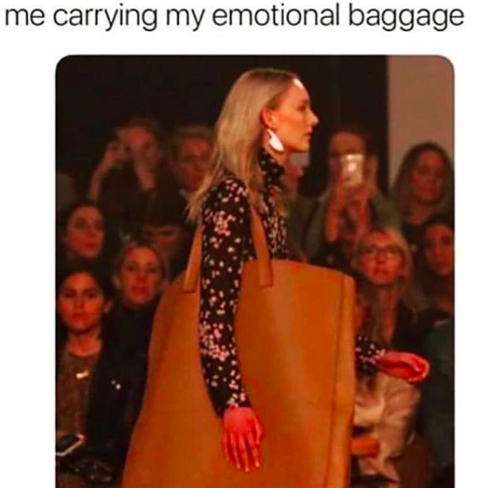 me carrying around my emotional baggage meme