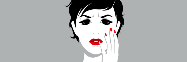 illustration of woman with dark hair and red nails against gray background