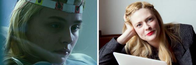 "Chloe Grace Moretz in ""Brain on Fire"" and its author Susannah Cahalan"