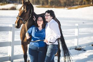 Sarah and her friend with Blues the horse.