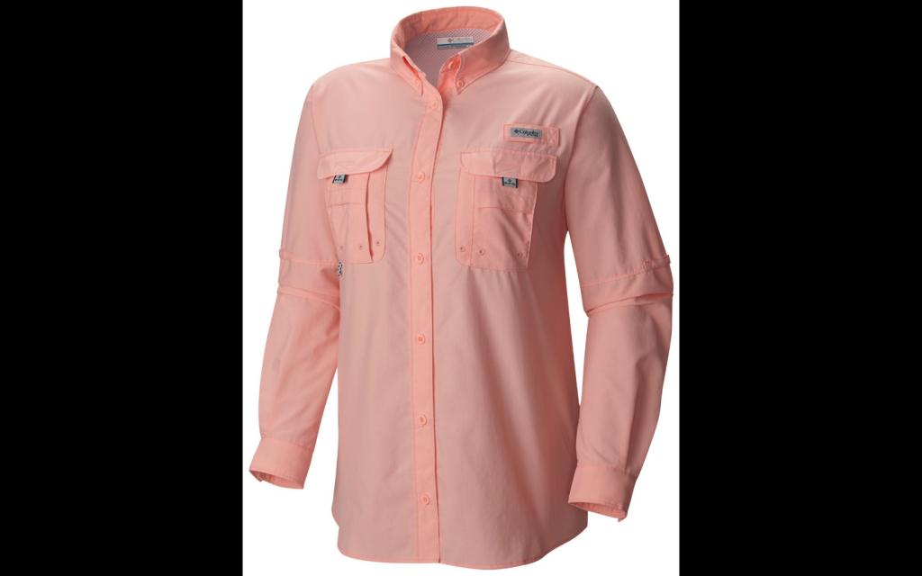 long sleeve light pink columbia fishing shirt