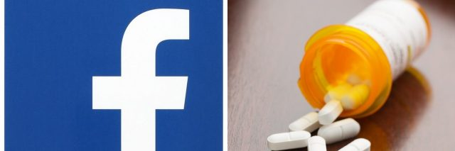 facebook logo and pill bottle
