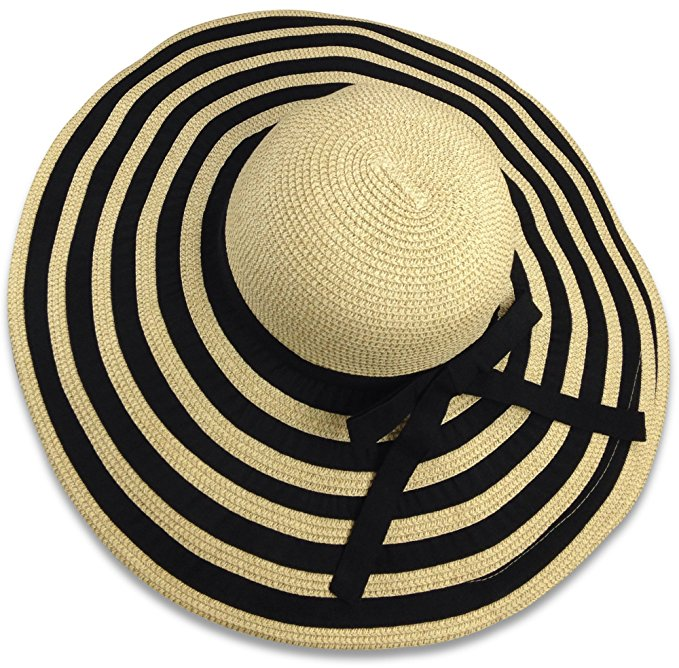 black and tan striped wide brimmed straw hat