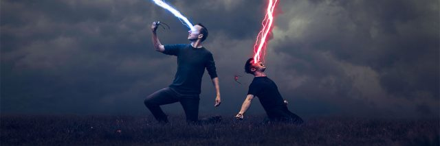 Adam Hague concept digital art photographyimage of men firing lasers from eyes at giant reaching hands