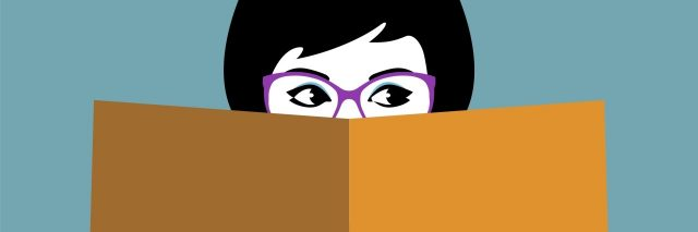 illustration of woman reading book and wearing glasses