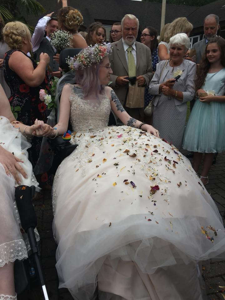 woman in a wedding dress getting married