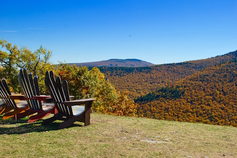 Chairs looking out at the Catskills.