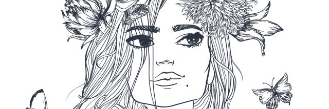 A sketch of a woman looking up, while wearing a flower crown and with butterflies flying around her.
