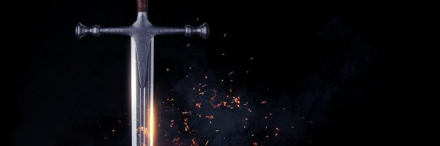 Metal sword on a dark background.