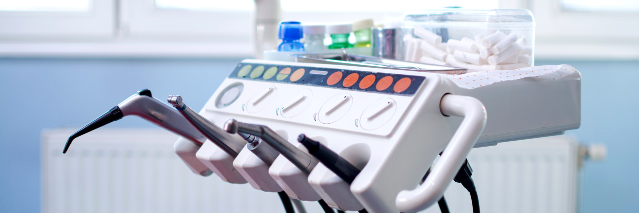 Equipment and dental instruments in dentist's office.
