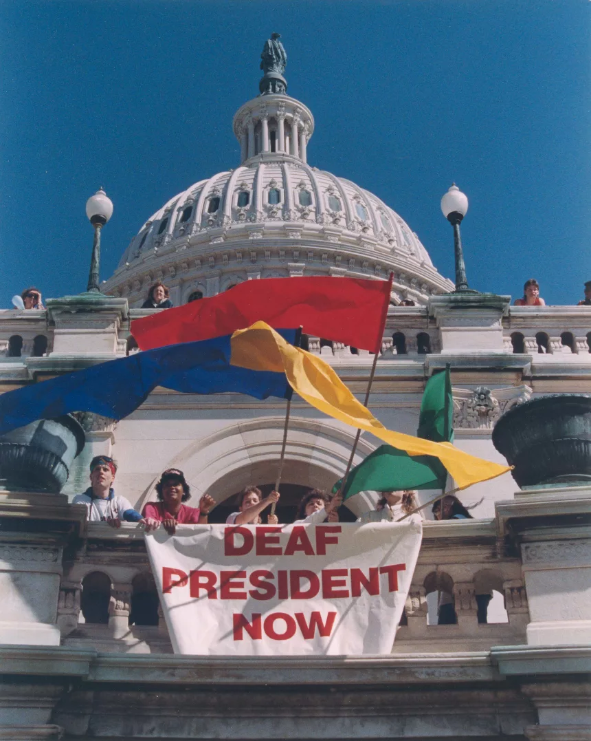 Deaf President Now protest at the Capitol.