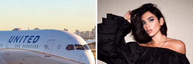 United Airlines plane and Dua Lipa
