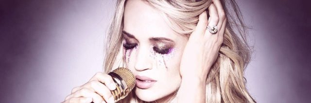"A picture of Carrie Underwood from her ""Cry Pretty"" album, showing glitter tears."