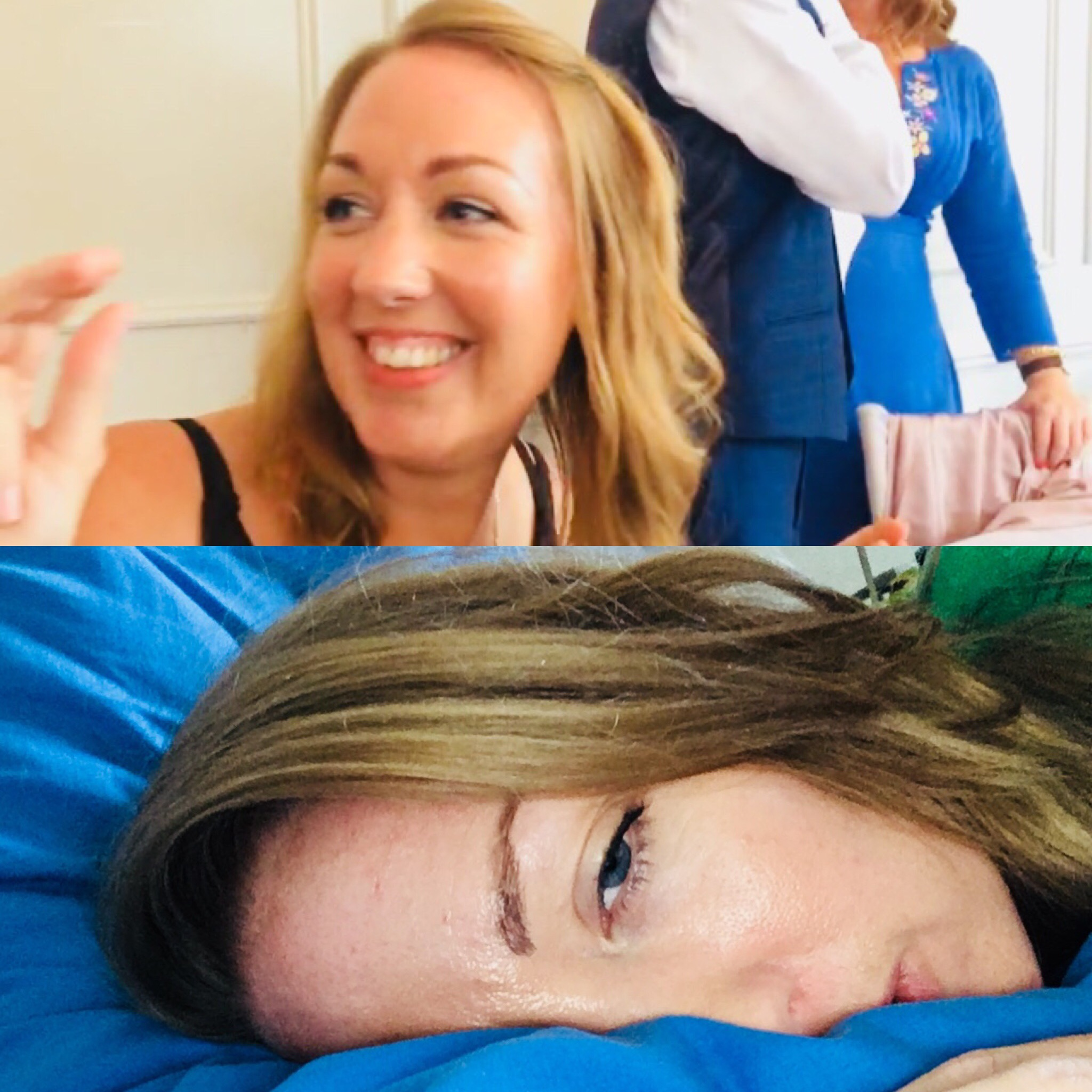 A collage of two images, one a photo of the writer at the wedding. The other of her exhausted in bed.