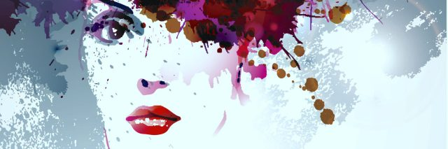 woman's face with colorful paint splotches making up her hair