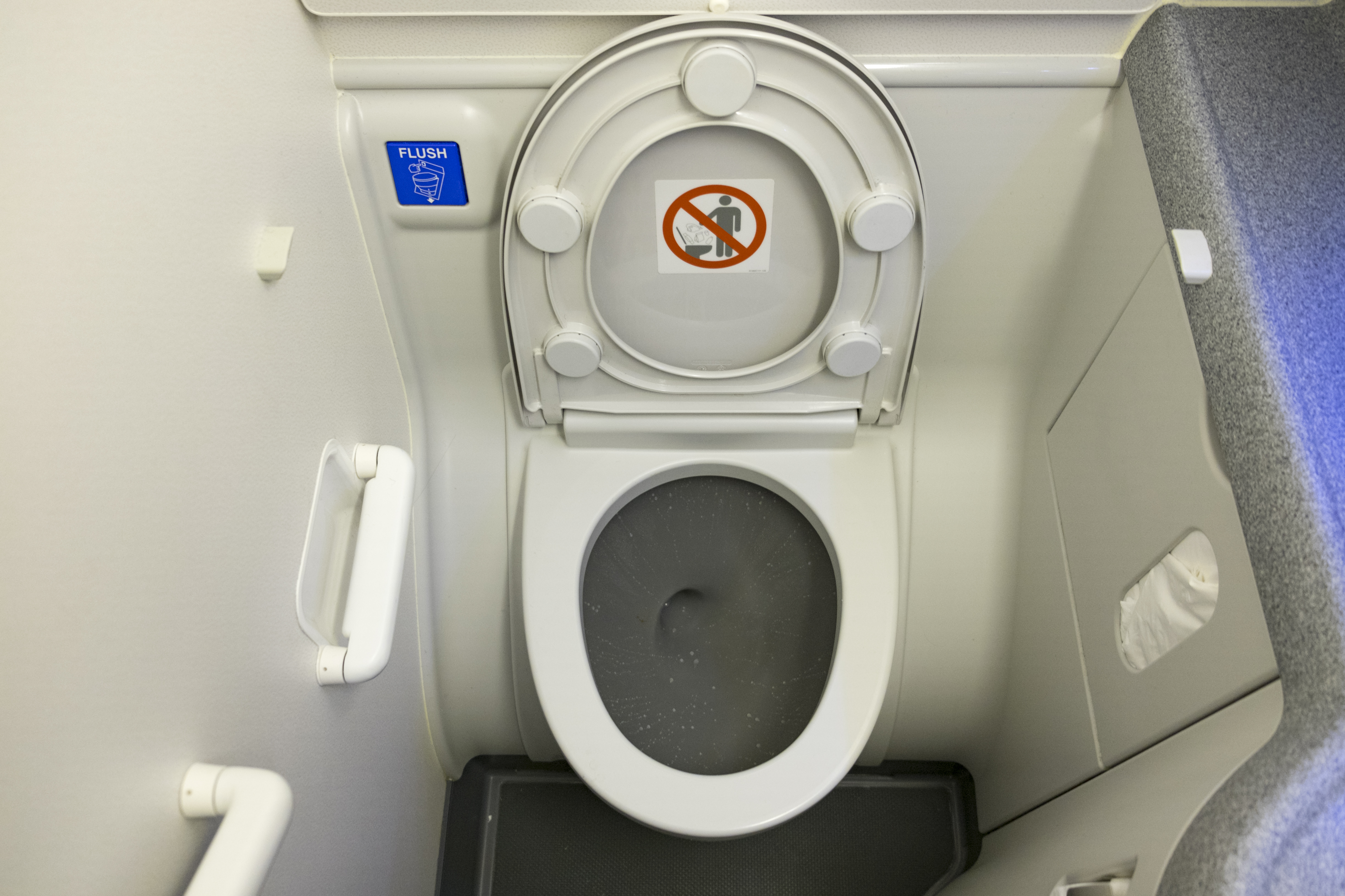 Toilet in airplane.