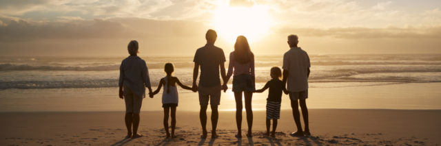 silhouette of a family on a beach