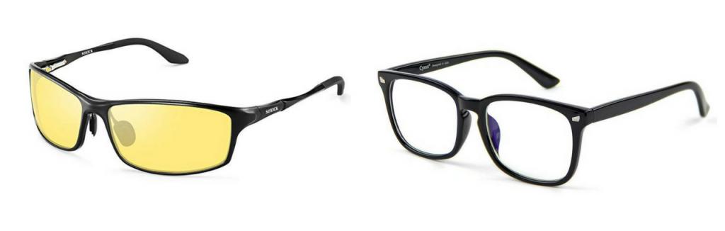 polarized yellow lens glasses, and blue light-blocking glasses