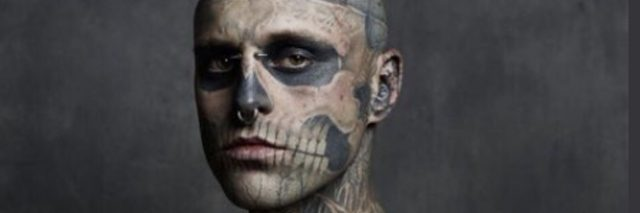 Photo of Zombie Boy, a heavily tattooed man.