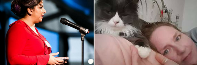 woman speaking on stage into a microphone, and woman lying in bed with her cat